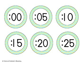 Turquoise Lime Chevron Clock Numbers