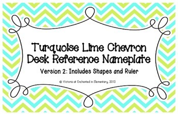 Turquoise Lime Chevron Desk Reference Nameplates Version 2