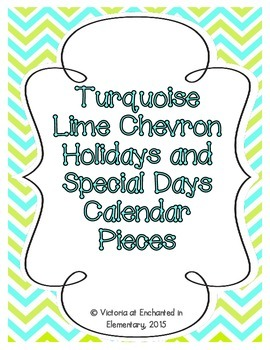 Turquoise Lime Chevron Holiday Calendar Pieces