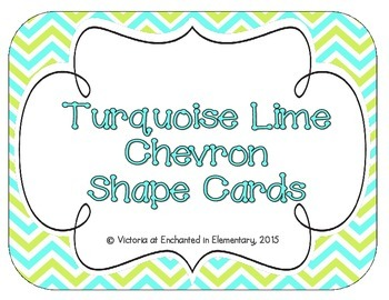 Turquoise Lime Chevron Shape Cards