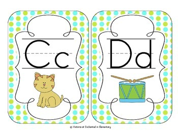Turquoise Lime Polka Dot Alphabet Cards