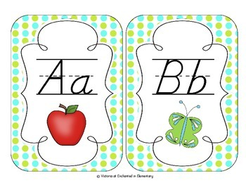 Turquoise Lime Polka Dot Alphabet Cards: D'Nealian Version