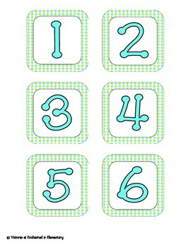 Turquoise Lime Polka Dot Calendar Numbers, Months and Days