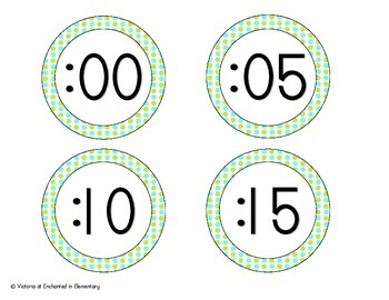Turquoise Lime Polka Dot Clock Numbers