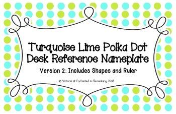 Turquoise Lime Polka Dot Desk Reference Nameplates Version 2