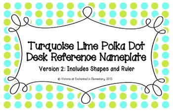 Turquoise Lime Polka Dot Desk Reference Nameplates Version 2