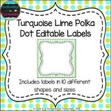Turquoise Lime Polka Dot Editable Labels