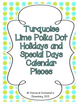 Turquoise Lime Polka Dot Holiday Calendar Pieces