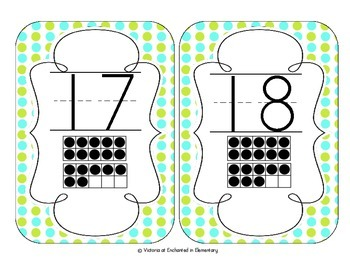 Turquoise Lime Polka Dot Number Cards 1-20