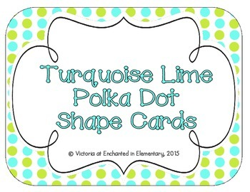 Turquoise Lime Polka Dot Shape Cards