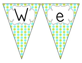 Turquoise Lime Polka Dot Welcome Pennant