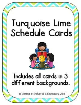 Turquoise Lime Schedule Cards