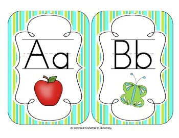Turquoise Lime Stripes Alphabet Cards