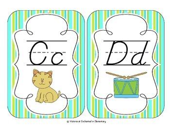 Turquoise Lime Stripes Alphabet Cards: D'Nealian Version