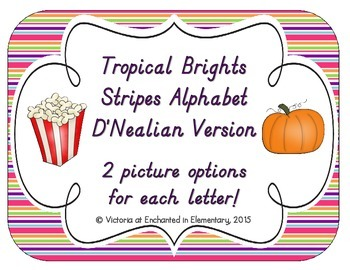 Tropical Brights Stripes Alphabet Cards: D'Nealian Version