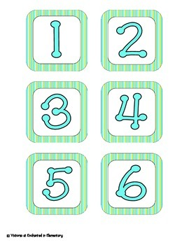 Turquoise Lime Stripes Calendar Numbers, Months and Days