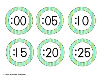 Turquoise Lime Stripes Clock Numbers