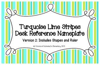 Turquoise Lime Stripes Desk Reference Nameplates Version 2
