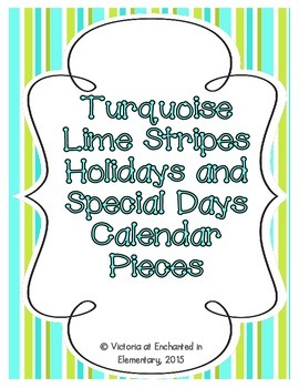 Turquoise Lime Stripes Holiday Calendar Pieces