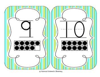 Turquoise Lime Stripes Number Cards 1-20