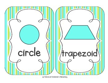 Turquoise Lime Stripes Shape Cards