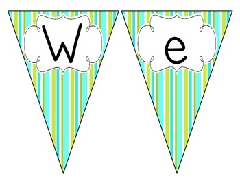 Turquoise Lime Stripes Welcome Pennant