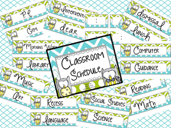 Turquoise & Lime/Owls Classroom Schedule Cards with Additional Editable Page