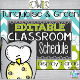 Turquoise & Lime/Owls Classroom Schedule Cards with Additi