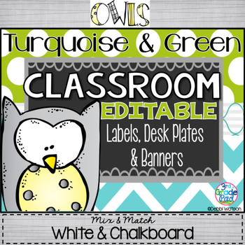 Turquoise & Lime/Owls Editable Labels, Desk Plate & Banners: Chalkboard/White