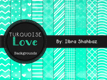 Turquoise Love Watercolor Digital Paper Backgrounds