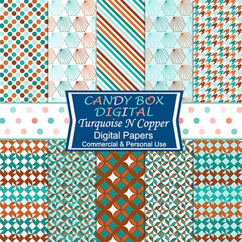 Turquoise N Copper Geometric Digital Papers - Commercial Use OK