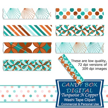 Turquoise N Copper Washi Tape Clip Art - Commercial Use OK