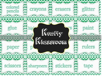 Turquoise Ombre' Chevron Classroom Supply Labels ~ {16 pack}
