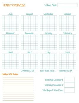 Turquoise & Orange Damask Homeschool Planner