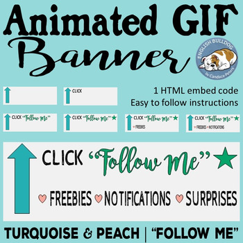 "Turquoise & Peach Animated GIF ""Follow Me"" Banner"
