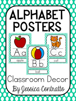 Turquoise Polka Dot ABC Posters
