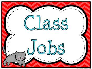 Turquoise & Red Chevron Classroom Jobs Display & Clip Chart