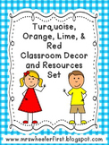 Turquoise, Red, Orange, & Lime Classroom Labels & Resources