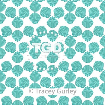 Turquoise Scallop Shell Pattern on White digital paper Printable Tracey Gurley