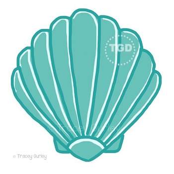 Turquoise Scallop Shell - scallop shell clip art Printable Tracey Gurley Designs