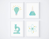 Turquoise Science Watercolor Printable Posters