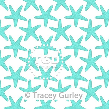 Turquoise Starfish Pattern on White digital paper Printable Tracey Gurley