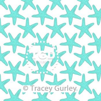 Turquoise Starfish Pattern on White digital paper Printabl