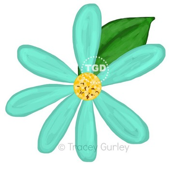 Turquoise Teal Daisy with and without leaf Printable Trace