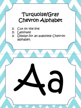 Turquoise (Teal) and Gray Chevron Alphabet