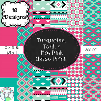 Turquoise, Teal, and Hot Pink Aztec Print Digital Paper