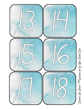 Turquoise Watercolor Numbers 1 - 30 (Fit Target Adhesive Pockets)