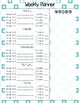 Turquoise Weekly Student Assignment Planner