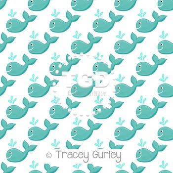 Turquoise Whale Pattern on White digital paper Printable Tracey Gurley Designs
