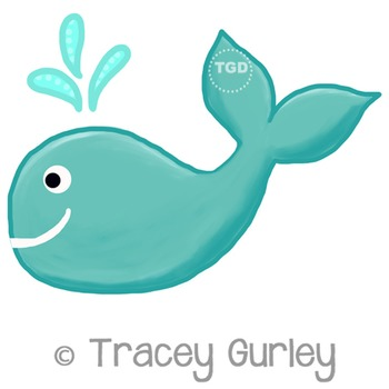 Turquoise Whale, turquoise whale clip art Printable Tracey Gurley Designs
